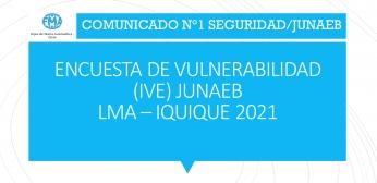 COMUNICADO N°1 SEGURIDAD/JUNAEB, ENCUESTA IVE