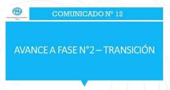 COMUNICADO N°12; AVANCE A FASE N°2 – TRANSICIÓN