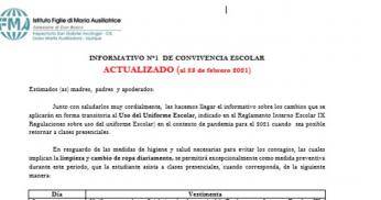INFORMATIVO N°1, CONVIVENCIA ESCOLAR ACTUALIZADO