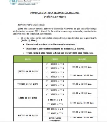 PROTOCOLO  DE ENTREGA DE TEXTOS ESCOLARES 2021