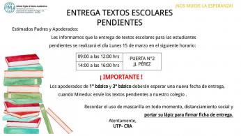 ENTREGA DE TEXTOS ESCOLARES PENDIENTES