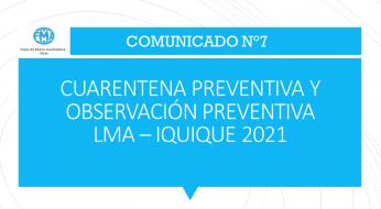 COMUNICADO N°7 - 2021, CUARENTENA PREVENTIVA Y OBSERVACIÓN PREVENTIVA 2° MEDIO B