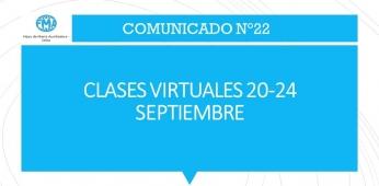 CLASES VIRTUALES DEL 20 AL 24 DE SEPTIEMBRE