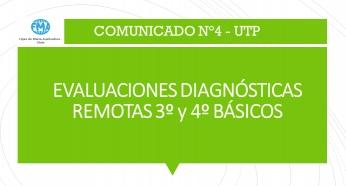 COMUNICADO N°4, UTP - 2021, EVALUACIONES DIAGNÓSTICAS REMOTAS 3° Y 4° BÁSICOS