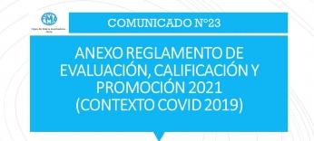 ANEXO REGLAMENTO DE EVALUACIÓN, CALIFICACIÓN Y PROMOCIÓN 2021  (CONTEXTO COVID 2019)