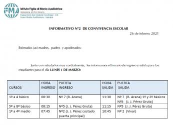 INFORMATIVO N°2 CONVIVENCIA ESCOLAR
