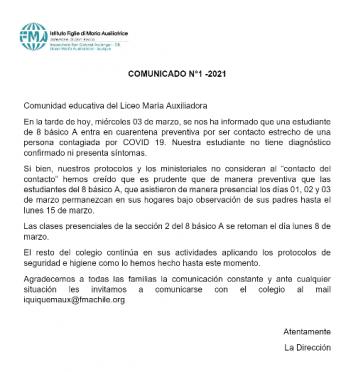 COMUNICADO N°1 - 2021