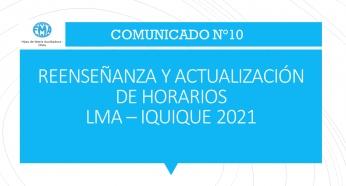 COMUNICADO N°10 - 2021; REENSEÑANZA Y ACTUALIZACIÓN DE HORARIOS.