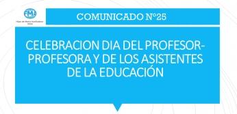 CELEBRACION DIA DEL PROFESOR- PROFESORA Y DE LOS ASISTENTES DE LA EDUCACIÓN
